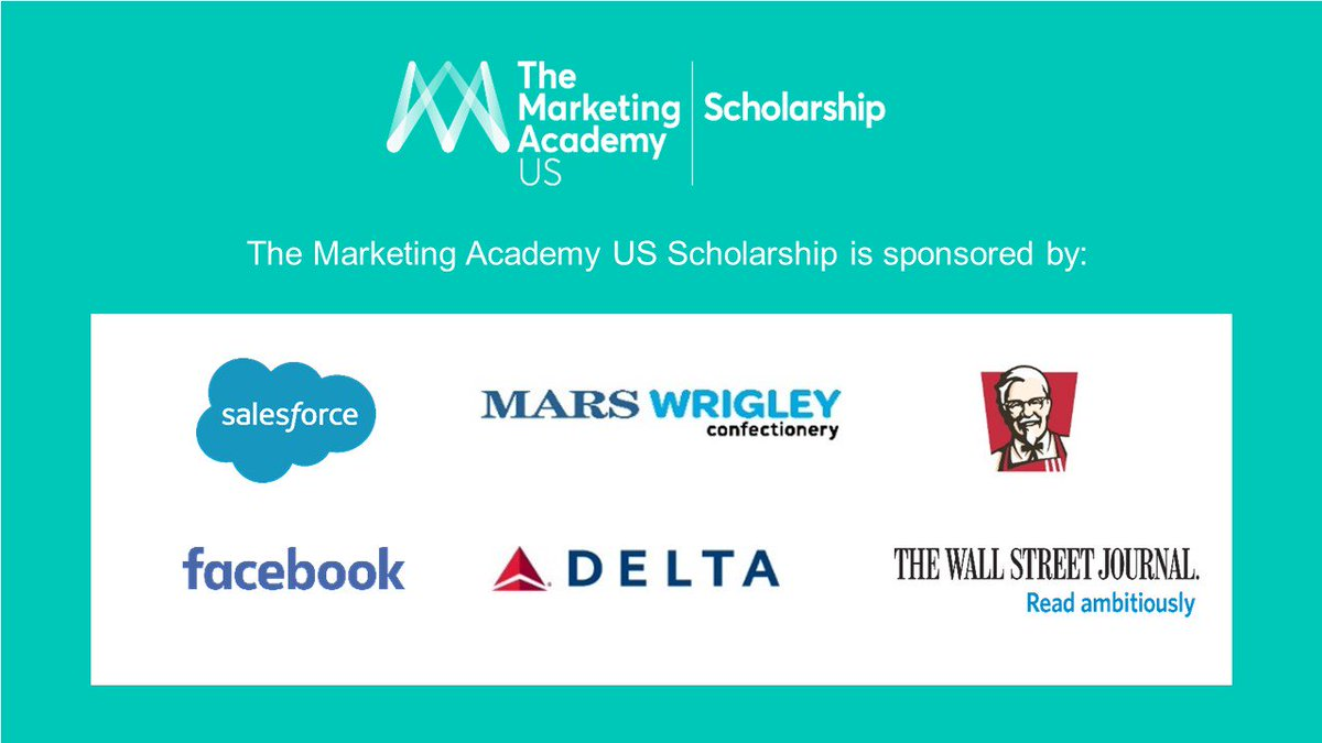 Our 2018 US Scholarship Program sponsors are @Salesforce, Facebook, @WSJ, @Delta, Mars Wrigley Confectionery, @kfcUSA. Together they are supporting the future of the industry. Only 30 places will be given to the very best emerging leaders. Check it out  http:// ow.ly/sBZ930kvS1d  &nbsp;  <br>http://pic.twitter.com/IbYoEj8Pbj