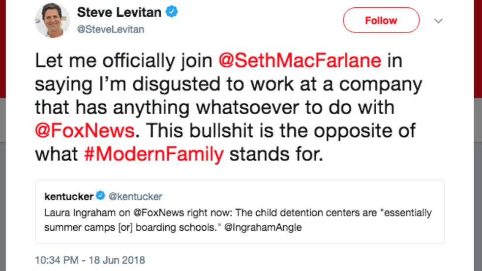 'Modern Family' co-creator: I'm 'disgusted' to work with Fox after seeing Fox News coverage of family separations https://t.co/F4SE0cDac2