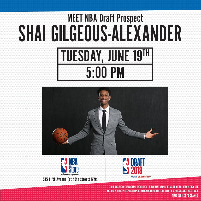 .@NBADraft week continues @nbastore nyc with @shaiglalex stopping by from 5-6pm today!
