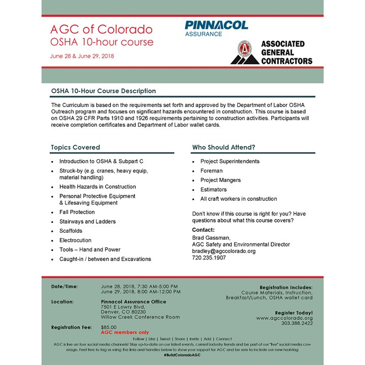 Agc Colorado On Twitter Next Week Get Your Osha Certification By