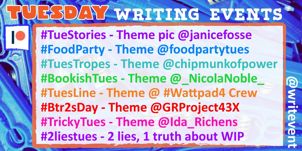 #amwriting #TuesLine - Lies #Tuestories [ing] #FoodParty - Hands  #SockItTueMe - Eat #Bookishtues - Horizon #TrickyTues - Cataclysm #Btr2sDay - Simile #HODheartbeats - Time #Twisted2sDay - Mistaken Identitiy #writingromancelines - Song #Tuestropes - The Great Battle<br>http://pic.twitter.com/9dMjZKAbUu