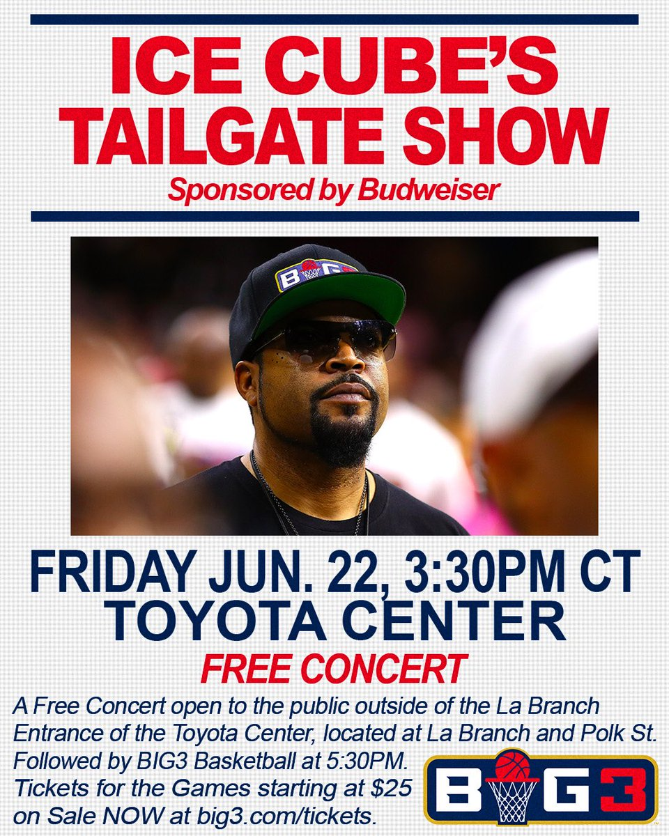 Come party and celebrate the Seasons Opener with @Icecube. Free concert followed by BIG3 Basketball at 5:30pm #houstonstrong #freeconcert