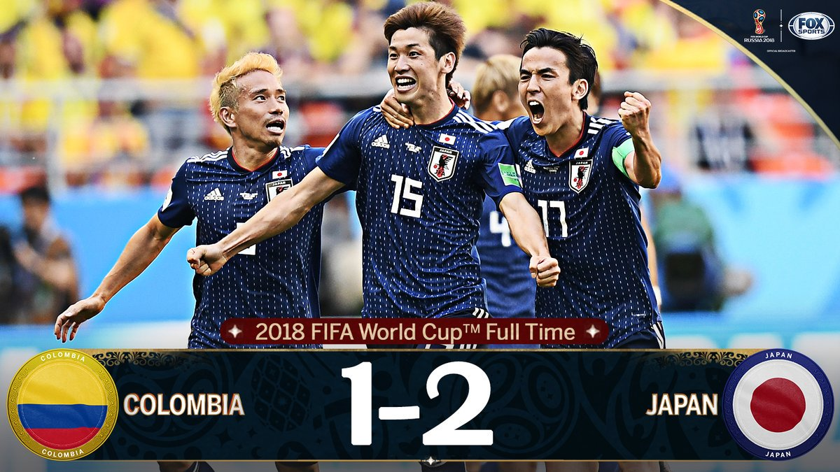 Japan wins 2-1 against Colombia. Check out a full schedule of World Cup matches here: https://t.co/cXWZu9TwuH