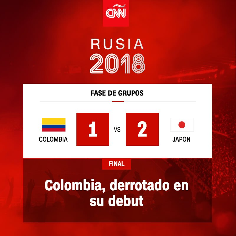 Colombia pierde 2 - 1 frente a Japón en su debut en el Mundial  https://t.co/P1e47vUTlG  #Rusia2018 https://t.co/bJlDLohDb8