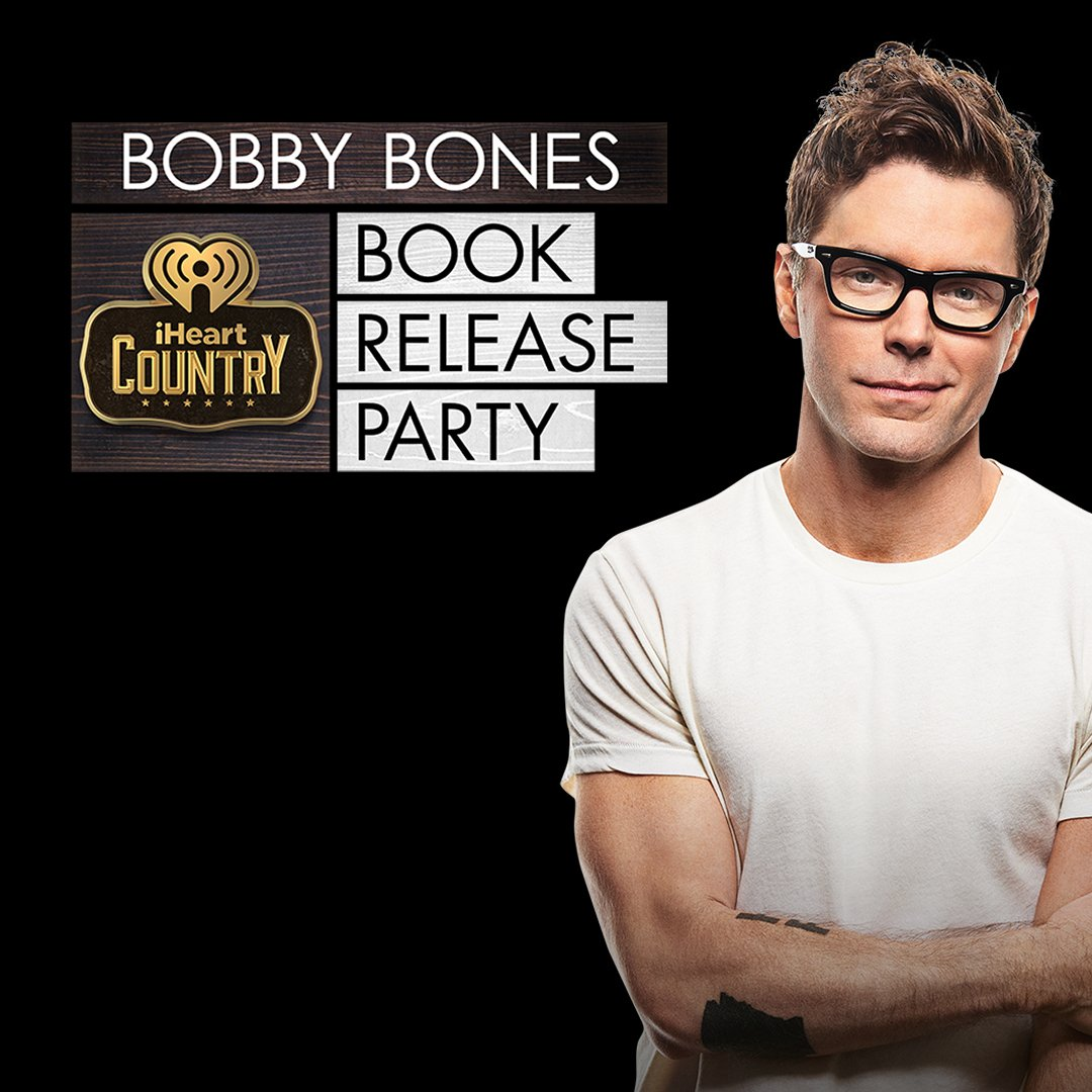 TONIGHT! @mrbobbybones #iHeartCountry book release party is going downnn.   You can watch it all live here:  https:// buff.ly/2JLXa1r  &nbsp;  <br>http://pic.twitter.com/Dmt4MMustV