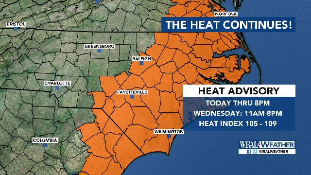 Areas shaded in orange are under a heat advisory through 8pm tonight and again on Wednesday. #wral <br>http://pic.twitter.com/vDnm1dcyHo
