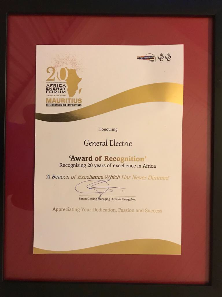 Drumroll! GE bags #AEF2018 Recognition Award for excellence, supporting Energy development in Africa #PoweringForward<br>http://pic.twitter.com/KuFNAkZT9G