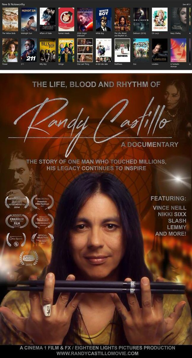So great to see the new Randy Castillo documentary up in the new & noteworthy section of @iTunes. Narrated by Lita Ford; Just released! The Life, Blood and Rhythm of Randy Castillo. Available here: itunes.apple.com/us/movie/the-l…