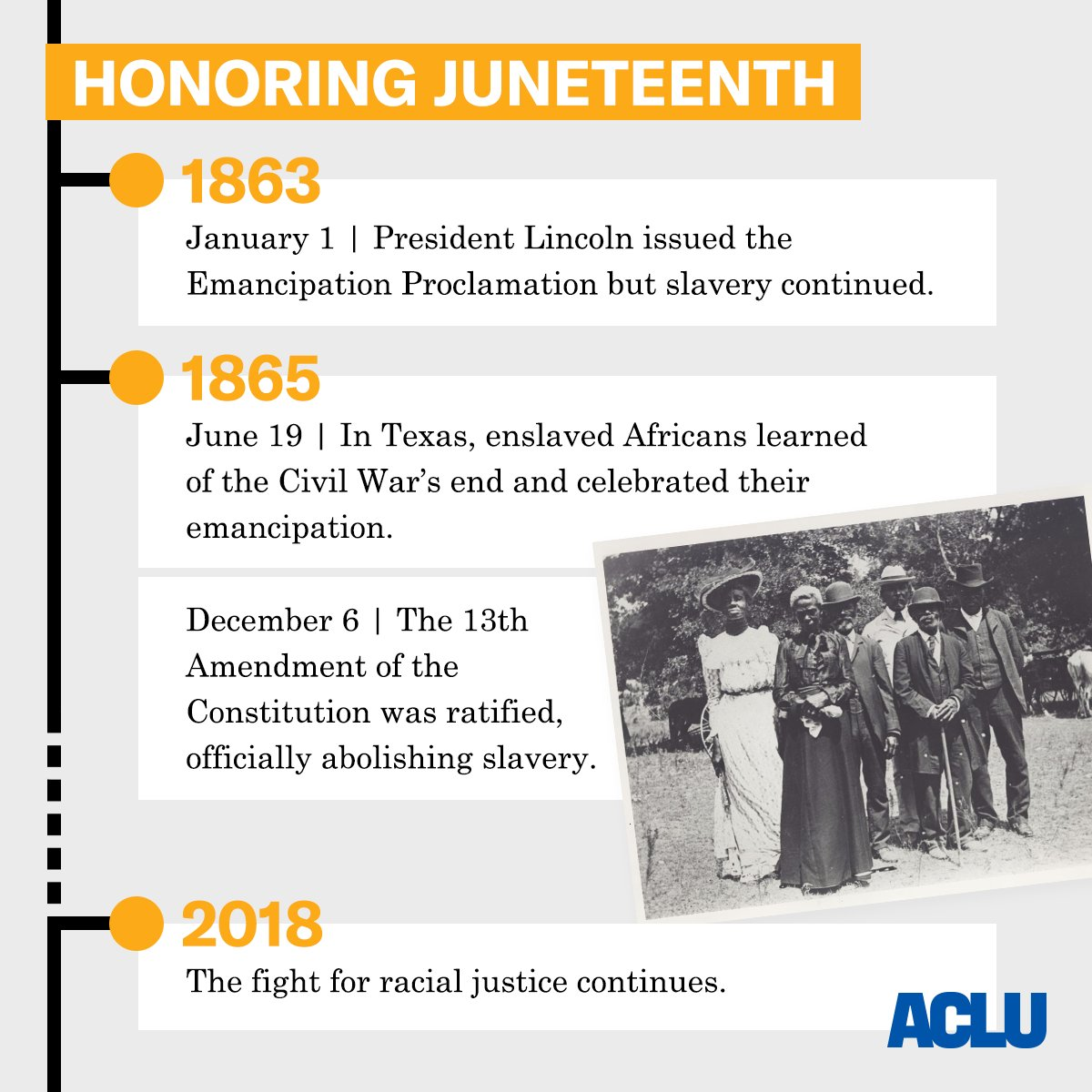 On #Juneteenth, we honor African-Africans' emancipation from slavery. We will continue the fight for racial justice.