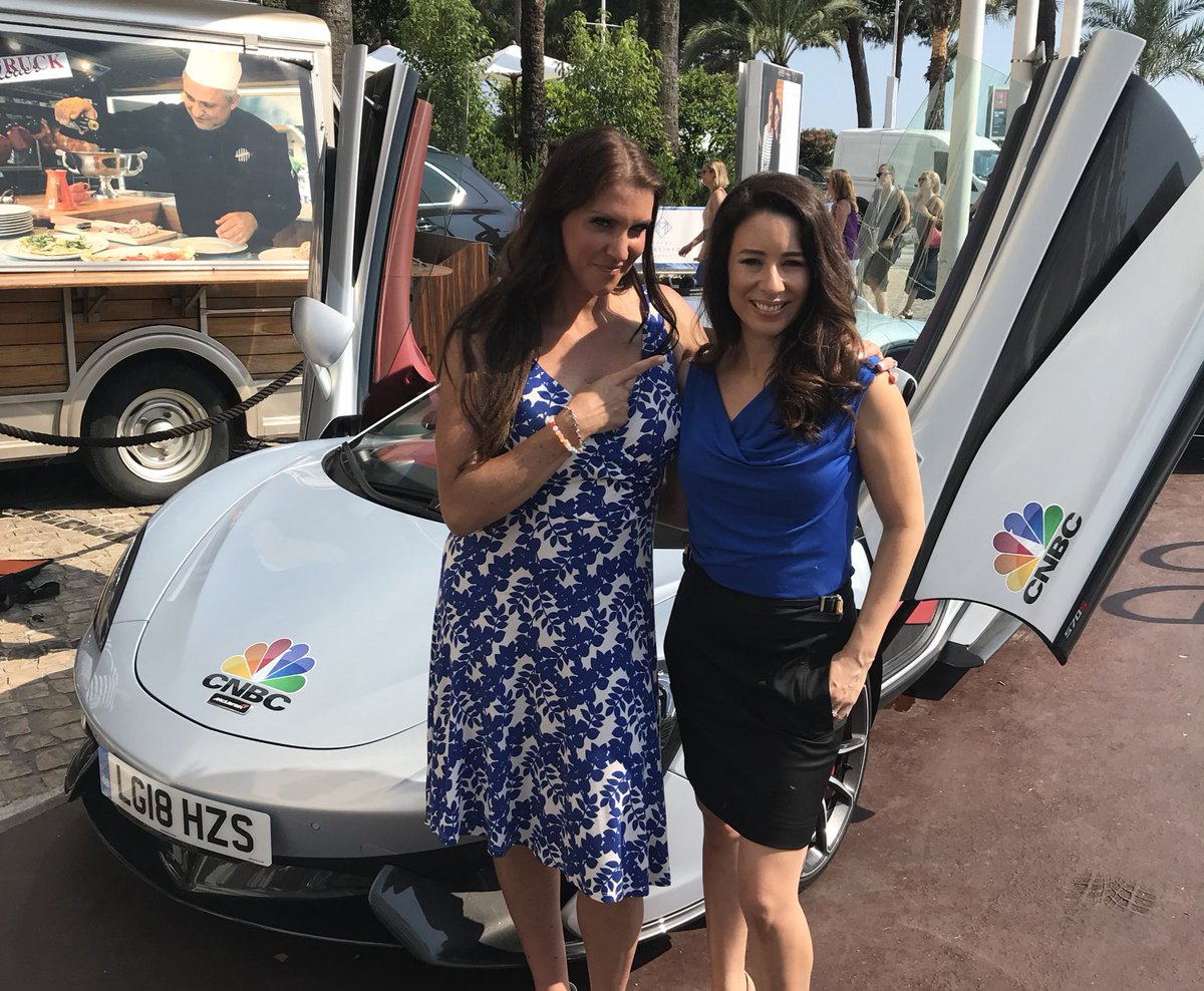 .@WWE Chief Brand Officer @StephMcMahon with @cnbcKaren before taking a spin in the @CNBCi @McLarenAuto #WhatDrivesYou #CannesLions