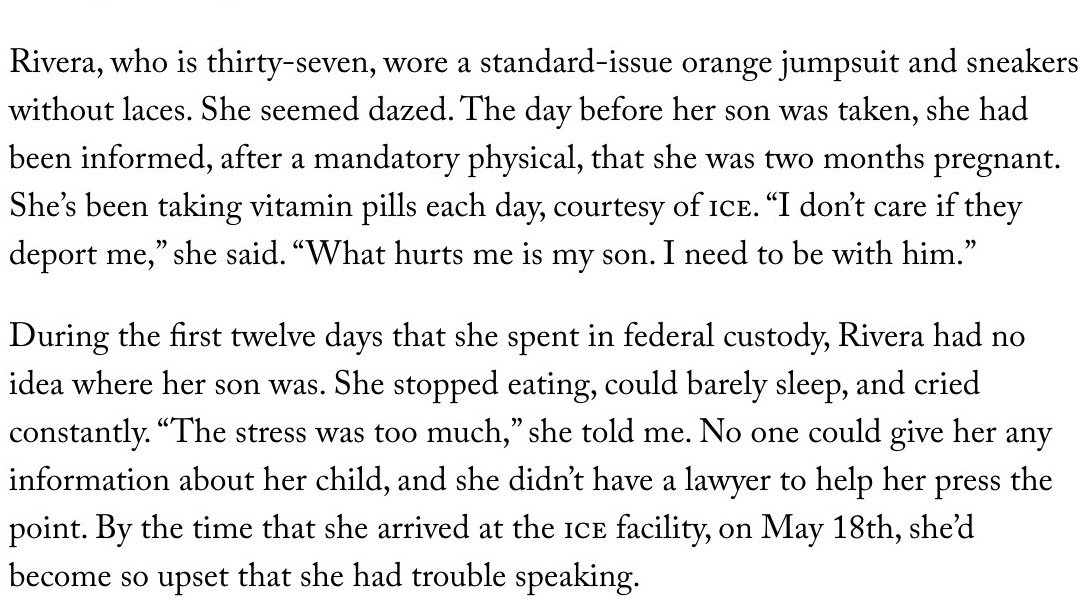 Utterly harrowing, devastating @JonathanBlitzer story for @NewYorker on a Honduran woman in ICE detention who has not seen her 5-year-old son in 6 weeks. https://t.co/FXGnMTped1