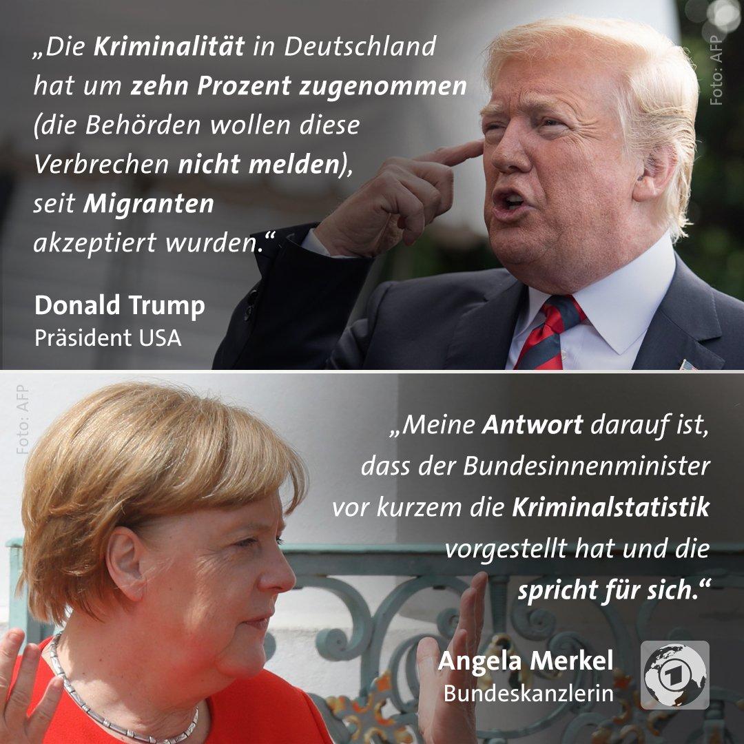 """oben: Zitat Donald Trump: """"Die Kriminalität in Deutschland hat um zehn Prozent zugenommen (die Behörden wollen diese Verbrechen nicht melden), seit Migranten akzeptiert wurden."""" / unten: Zitat Angela Merkel: """"Meine Antwort darauf ist, dass der Bundesinnenminister vor kurzem die Kriminalstatistik vorgestellt hat und die spricht für sich."""""""