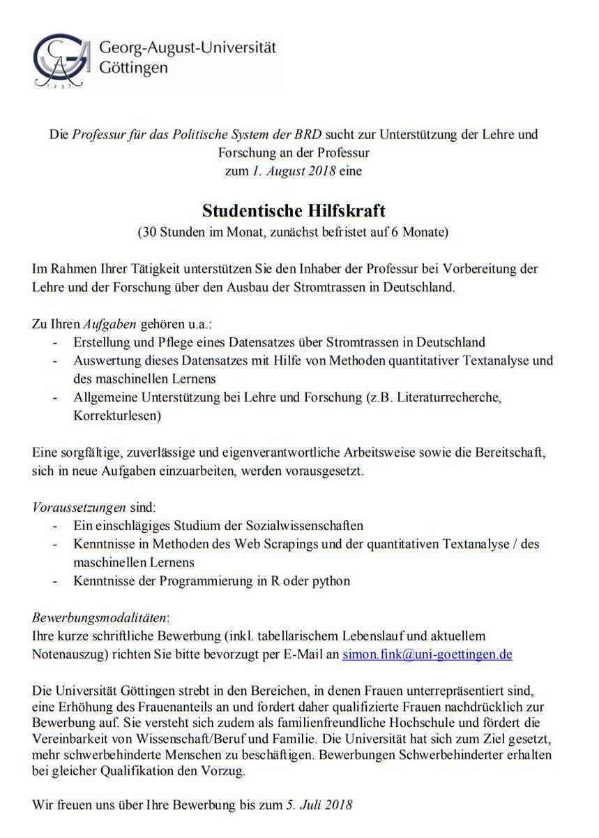 institut fr politikwissenschaft gttingen on twitter stellenausschreibung 3 der arbeitsbereich politisches system der brd am ipol_goettingen sucht - Uni Gottingen Bewerbung