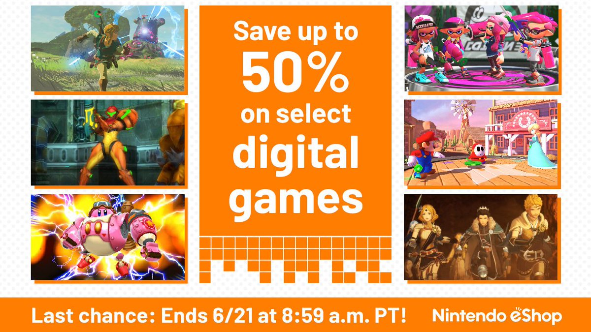 Dont miss out! Save up to 50% on select #NintendoSwitch and Nintendo #3DS digital games. Ends 6/21 at 8:59am PT. e3.nintendo.com/sale