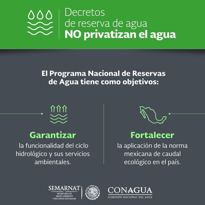 Retweeted (@gobmx): #EnVivo: El Director General de la @conagua_mx en #ConferenciaDePrensa detallas los Decretos de reserva de agua💧💦💧y enfatiza: Los Decretos NO privatizan el agua Foto