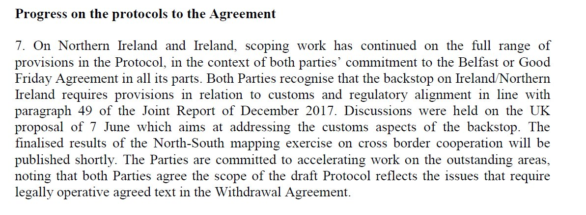 Today's talk on Ireland/ N Ireland did not progress the fundamental issues on border/customs, it instead completed the mapping exercise of the areas of UK-EU customs and single market alignment required under the Good Friday Agreement and December agreement