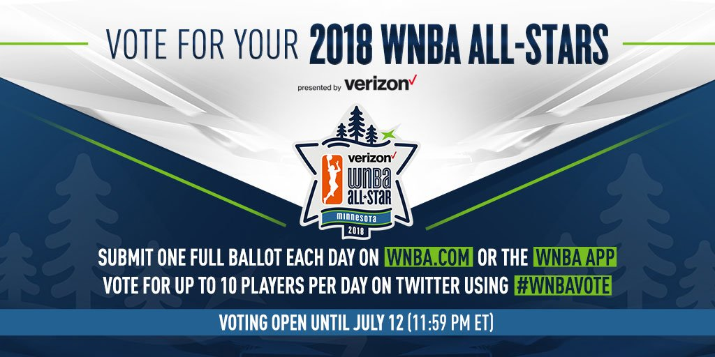 #WNBAAllStar voting is LIVE! Which ⭐️⭐️⭐️ do you want to see in action in Minneapolis on July 28? Cast your votes right here on Twitter by tweeting a players name with #WNBAvote, or submit your ballot here: on.nba.com/2K05UNs