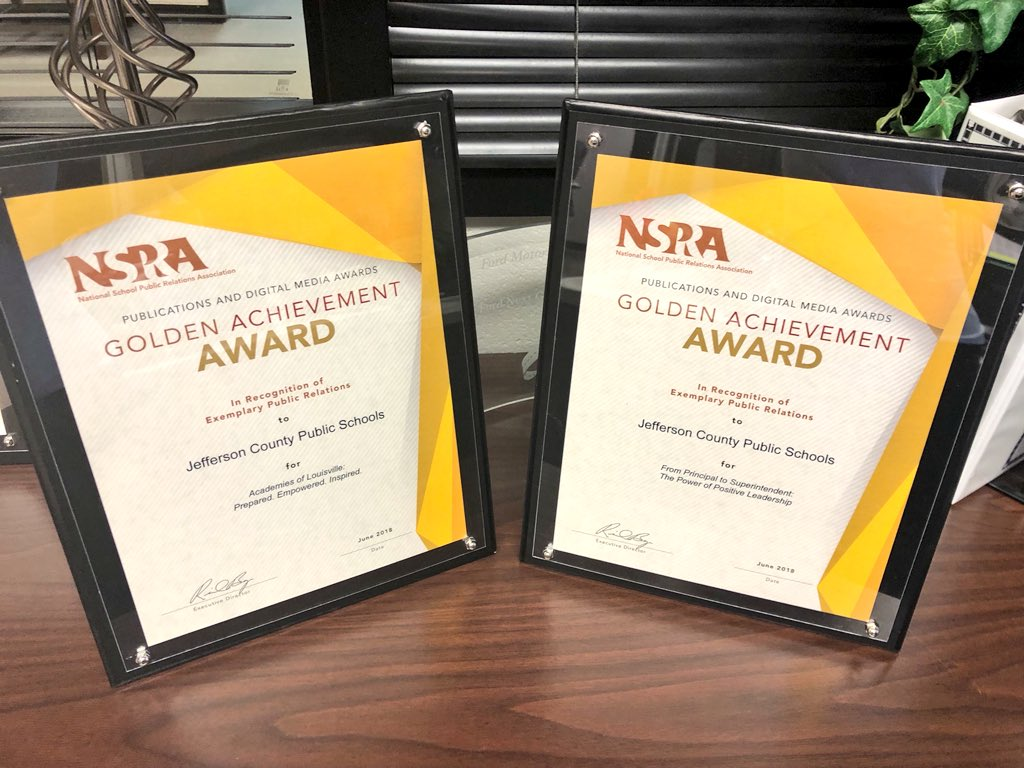 Shoutout to the @JCPSKY communications team for earning two @NSPRA Golden Achievement Awards! 👏👏👏 #WeAreJCPS