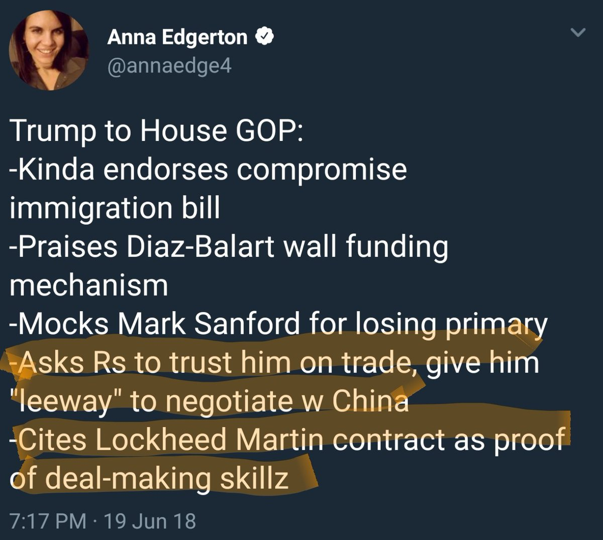 Trump reportedly cites Lockheed Martin deal as key example when asking for leeway from House GOP on China trade negotiations. Washington Post gave the Lockheed cost cutting deal claim 4 Pinnocchios h/t @annaedge4 https://t.co/Sf8kNbPwHK