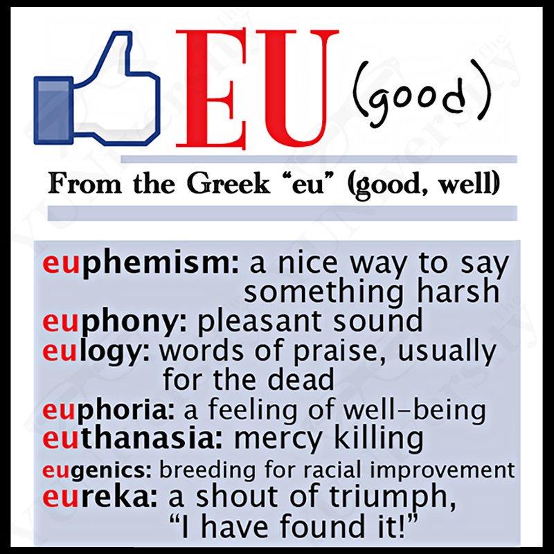 "Word Root: EU (good) Examples: • euphemism • euphony • eulogy • euphoria • euthanasia • eugenics But ""Europe"" ≠ good rope. 😂 #vocabulary"