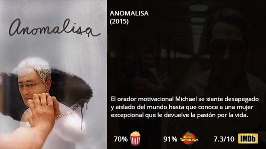 ANOMALISA (2015)  Jennifer Jason Leigh Tom Noonan David Thewlis  Directores: Charlie Kaufman / Duke Johnson  #Animación #Adultos #Drama #Comedia     http:// Netflix.com/title/80080269  &nbsp;  <br>http://pic.twitter.com/DAVeMFEpOa