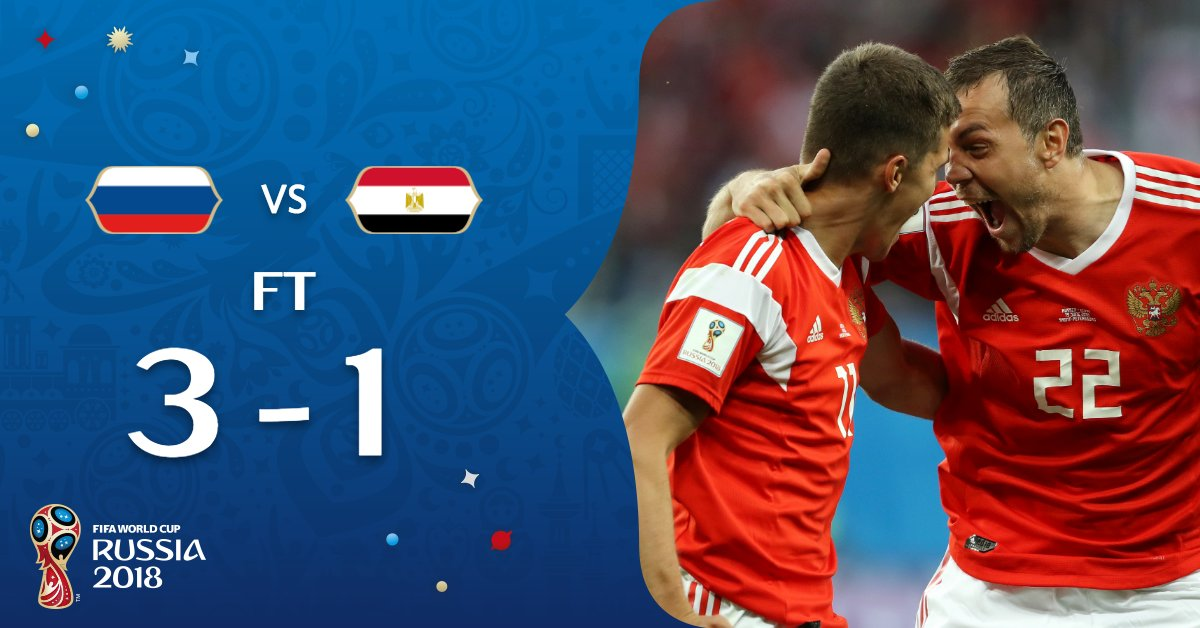 #RUS maintain their 100% record and take a massive step towards the knock-outs! #RUSEGY // #WorldCup