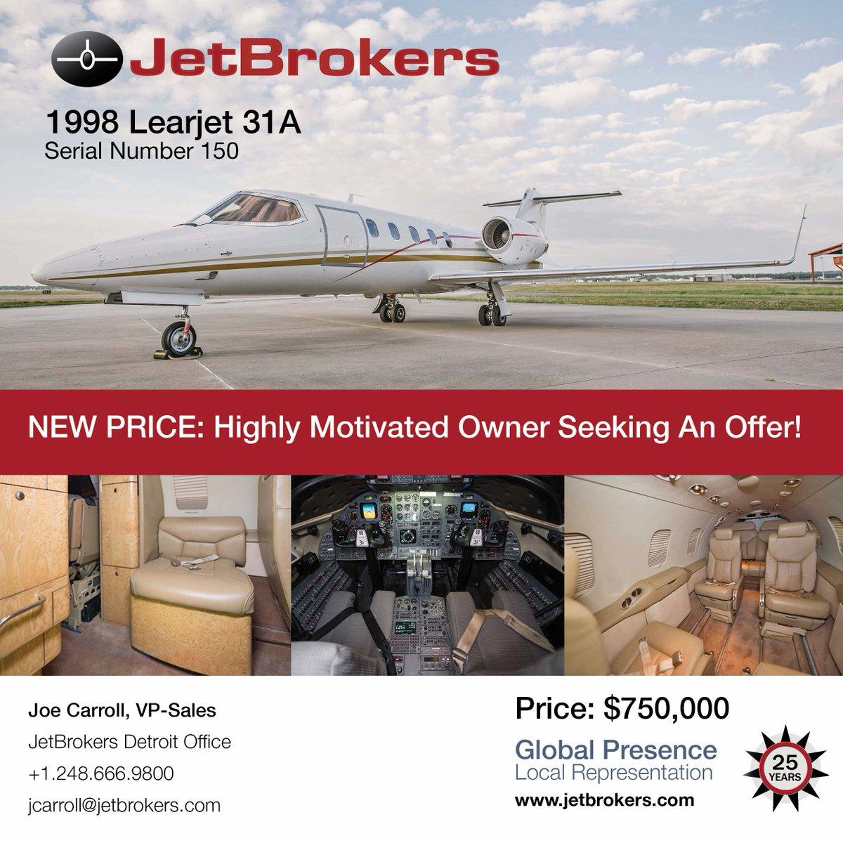 #Learjet31A sn 150 #jetforsale @JetBrokers New Price: Motivated Owners Seeks Offer! • MSP Gold • UNS 1E w/GPS &amp; Upgraded Software • Beautiful Paint/Interior • Raisbeck Aft Fuselage Locker. @JBIMichigan   Call Joe Carroll at +1 248.666.9800   https://www. jetbrokers.com/Learjet31A-150 .html &nbsp; … <br>http://pic.twitter.com/50yfaqp2hz
