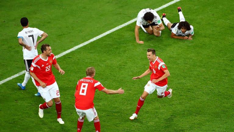 Rusia golea 3-1 a Egipto