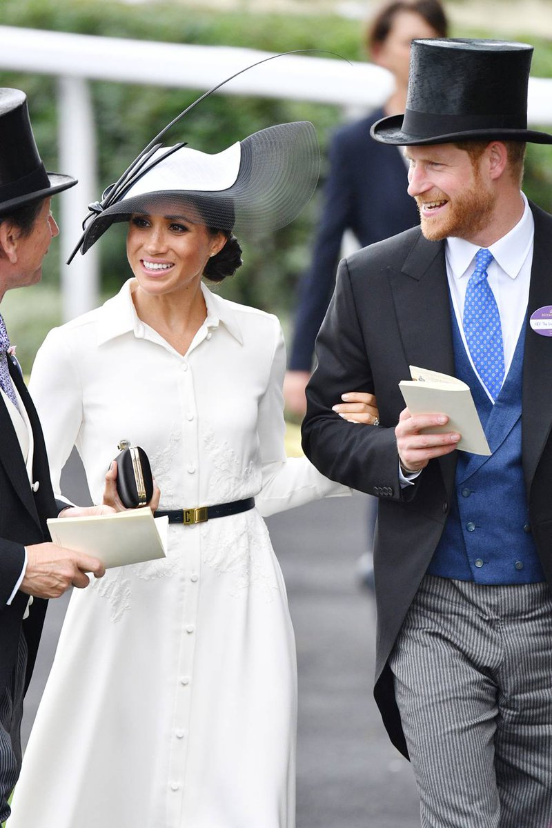 The Duchess of Sussex has officially made her #RoyalAscot debut. #MeghanMarkle wore a sophisticated white, button-down dress from #Givenchy paired with a Philip Treacy hat. This look reminds us of the My Fair Lady, which was designed by Hubert de Givenchy. Coincidence?  @givenchy<br>http://pic.twitter.com/Obbk2ZDPHT