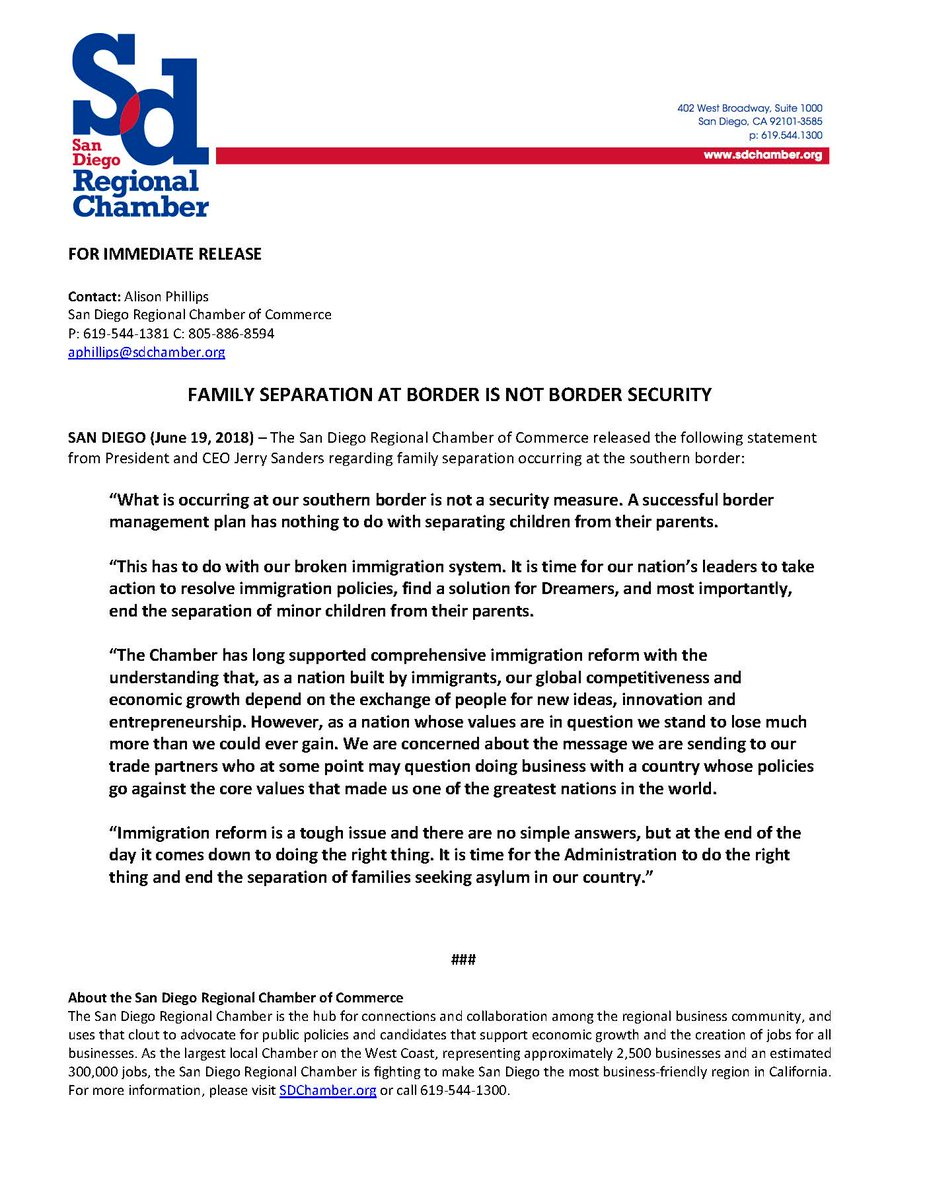 """""""What is occurring at our southern border is not a security measure. A successful border management plan has nothing to do with separating children from their parents.'  Statement from President & CEO Jerry Sanders on the separation of migrant families: https://t.co/c15gp6Zx0H"""