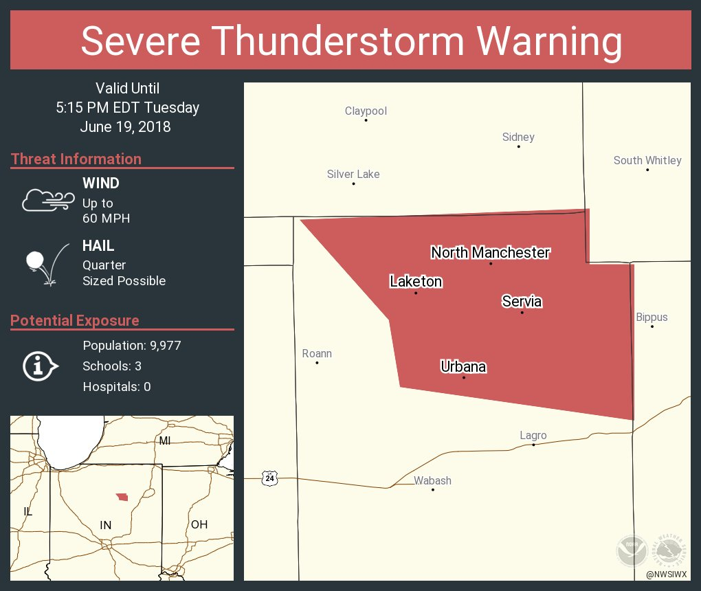 North Manchester Indiana Map.Nws Northern Indiana On Twitter Severe Thunderstorm Warning