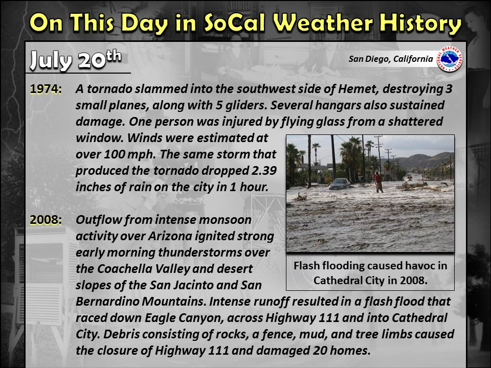 Notable SoCal weather history for July 20th. #CAwx #SoCal #SouthernCalifornia #SanDiegoWx #wxhistory