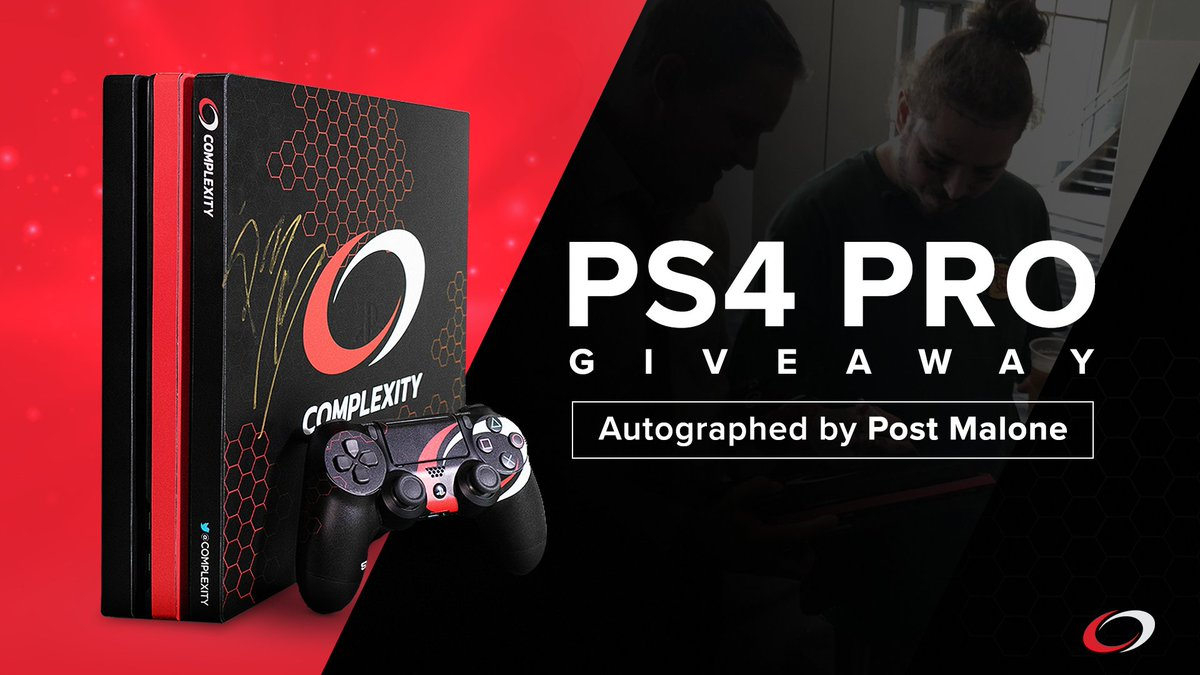 We&#39;re running an awesome giveaway!  You can win a custom compLexity skinned PS4 Pro signed by @PostMalone himself!  Enter in the link below!    http:// coL.vg/PostPS4  &nbsp;  <br>http://pic.twitter.com/aStzfrmgH8