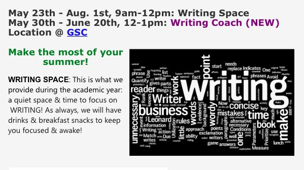 Tomorrow's Writing Wednesday will be the last session of the summer w/writing coach Candace Buckner! See you at The Grad Student Center! @IMEUNC https://t.co/25k07LMS4x