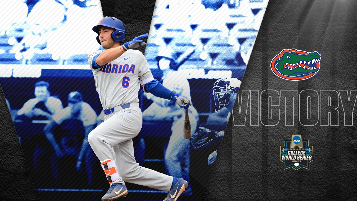 Not. Done. Yet.  No. 1 overall seed @GatorsBB continues its quest to repeat by downing Texas, 6-1, in an elimination game!  #CWS