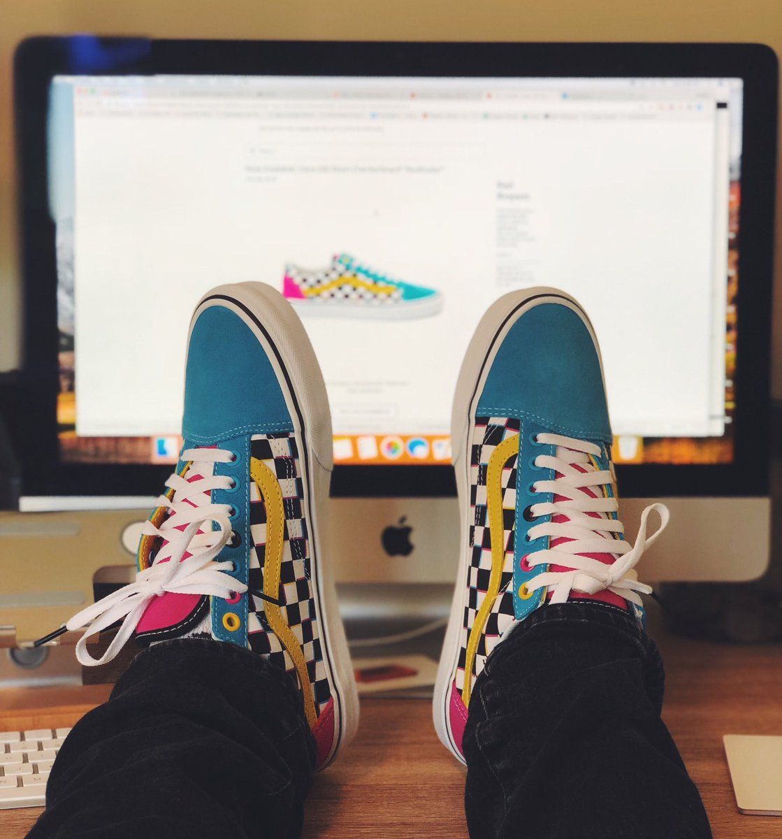multi colored checkerboard vans old
