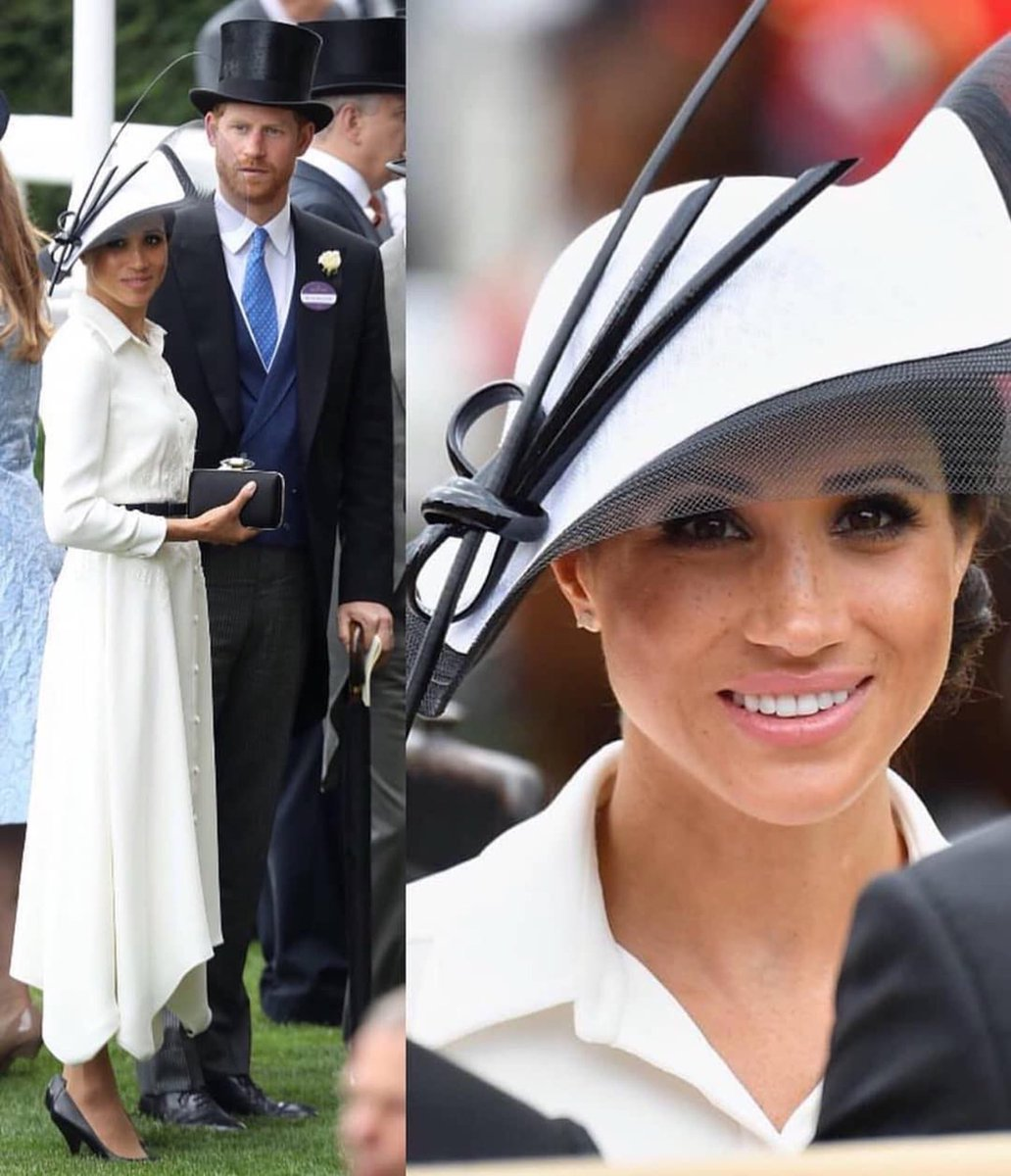 Today at #RoyalAscot2018 Love her topper! #duchessofsussex #dukeofsussex #princeharry #harryandmeghan #meghanmarkle