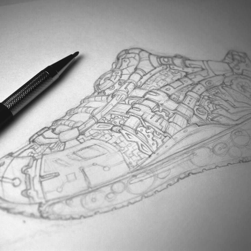 Doodle of a love filled Stormtrooper in a mechanical Asics for Comic Ex coming up. <br>http://pic.twitter.com/3A07fVLcGc