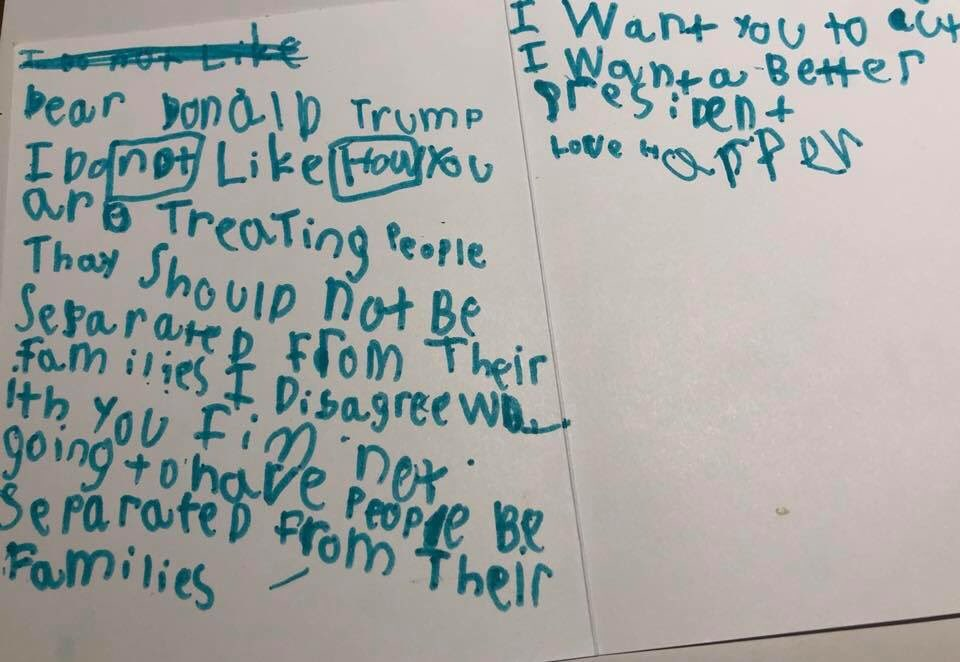 From the mouths of babes.  Harper is 6 a yr old from Boston & a family friend of my  col@CNNleague. This shows American children are being affected by just *witnessing* the  of #immigrationcrisisthe  . #BorderChildren#ThisIsNotUs