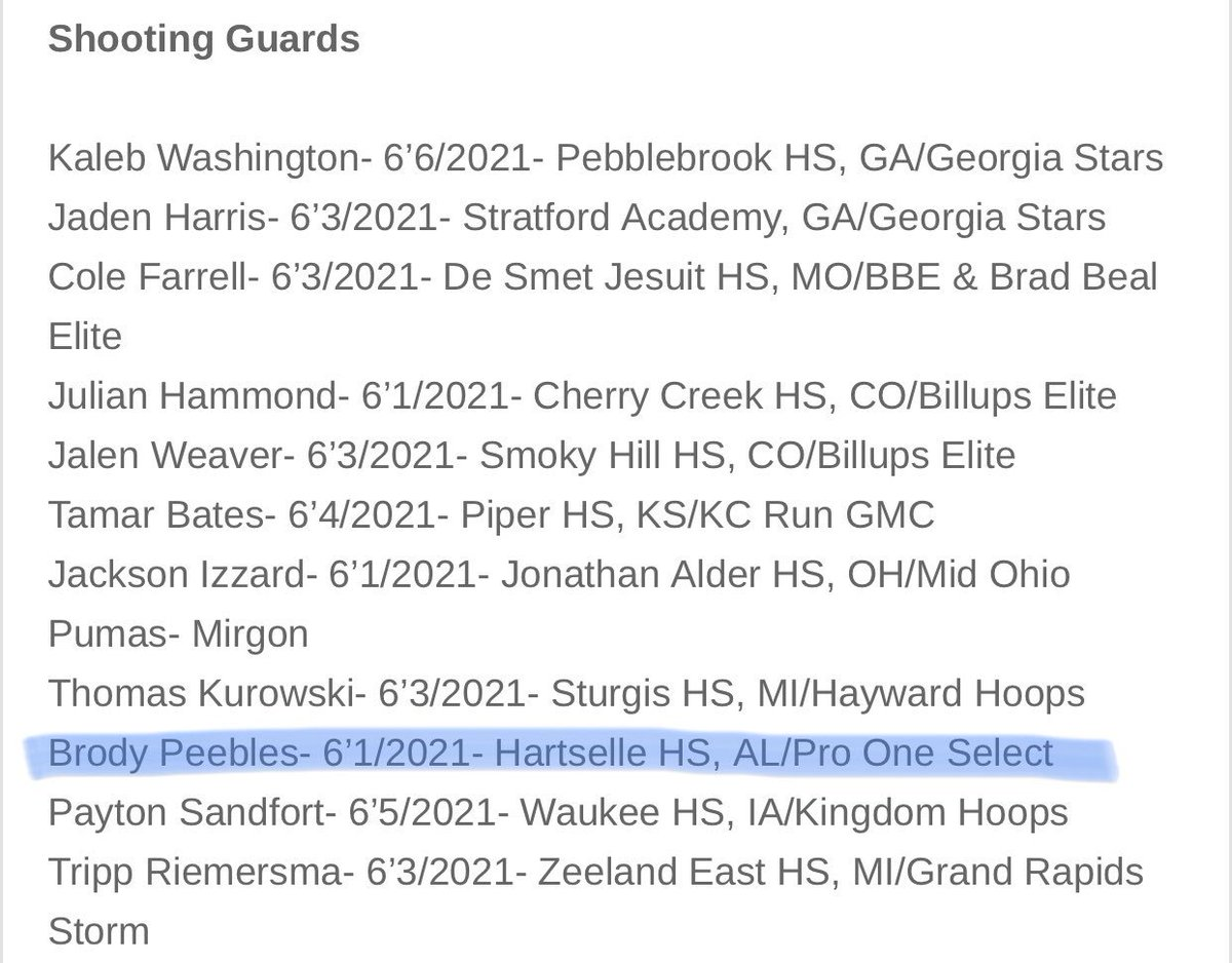 It's great to see @hartsellehoops @BrodyPeebles listed among some great players in the Top 10 rankings for Shooting Guards in the Class of 2021 by Crossroads Elite. Keep working Peebs! @uabasketball @audihuntsville   #ShootersShoot #NextPlay #BeDifferent #ProOneSelect<br>http://pic.twitter.com/tF7xdoz6jF