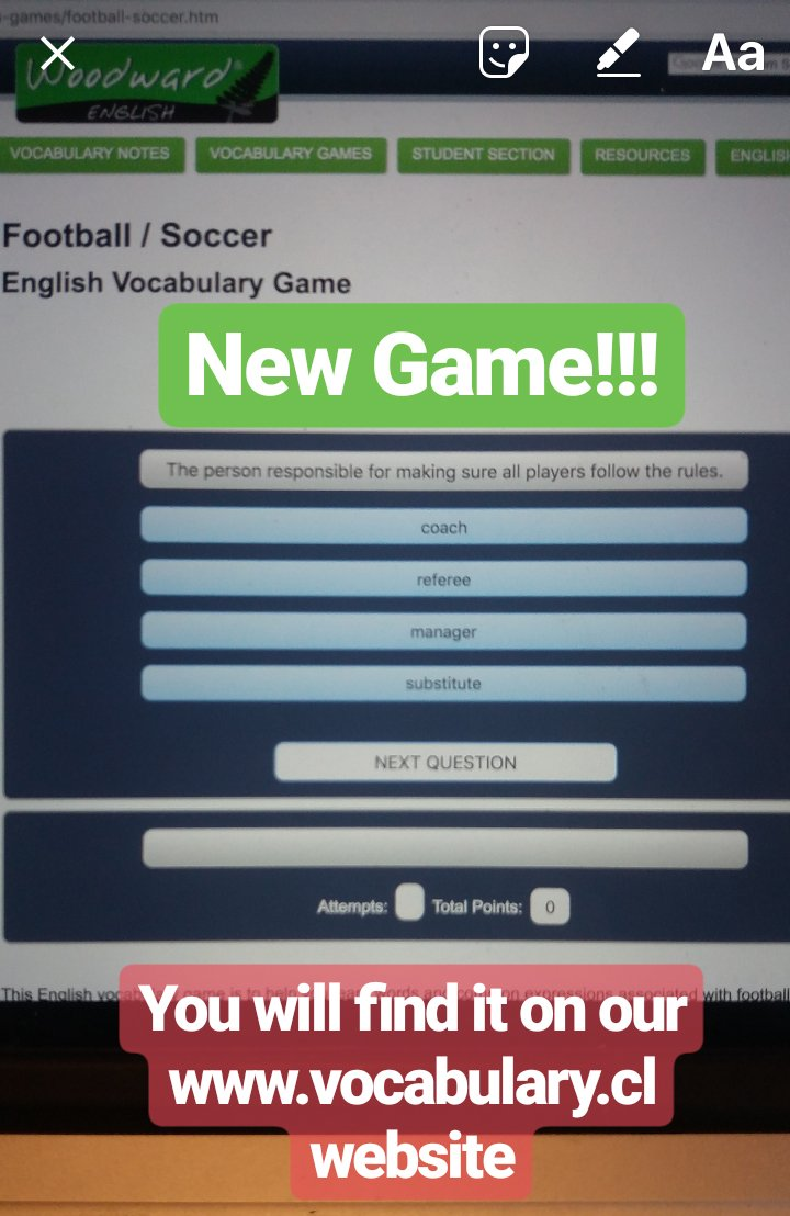 NEW GAME: Football / Soccer Vocabulary in English. Can you get 20 out of 20? vocabulary.cl/english-games/…