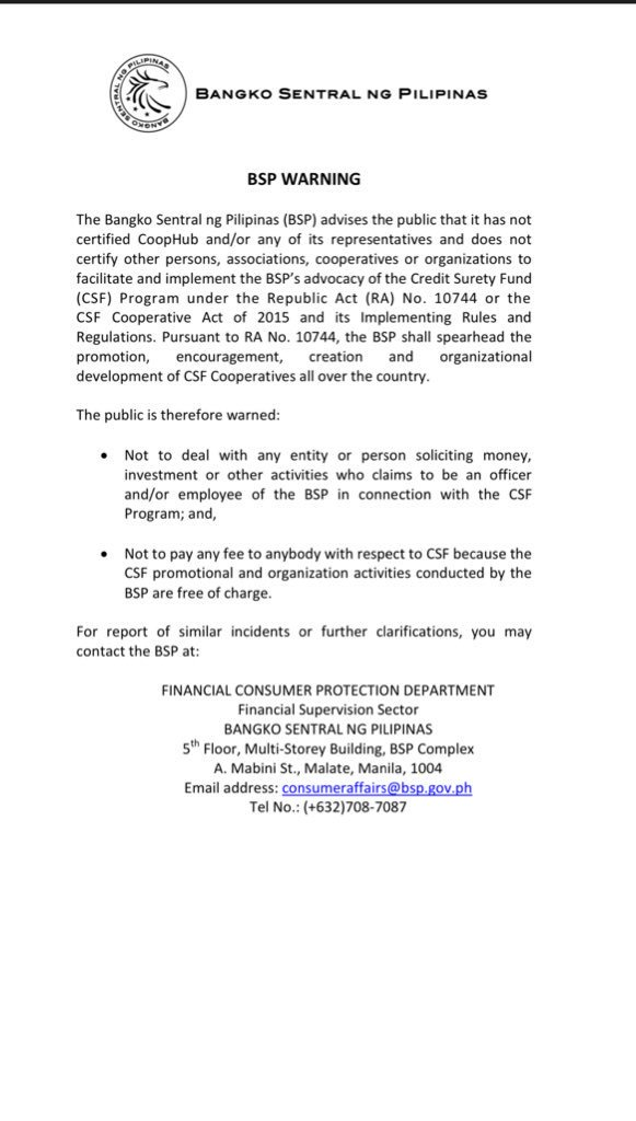BSP issues warning dealing with CoopHub   via @jacquemanabat