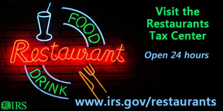 Own a restaurant? Get some tax tips for your business #IRS at https://t.co/YAtFOXnSc9 #IRSsmallbiz