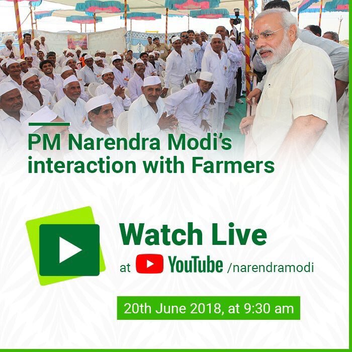Watch PM @narendramodi interacting directly with the farmers using NM App today at 9:30 A.M. Nationwide network of 3 Lakh CSC will be showing this interaction to farmers in villages. #KisanKiBaatPMKeSaath