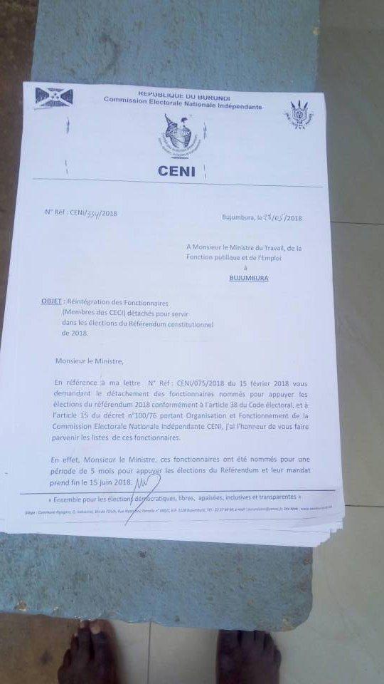 Ikiriho On Twitter Burundi La Ceni S Adresse Au Ministre Ayant