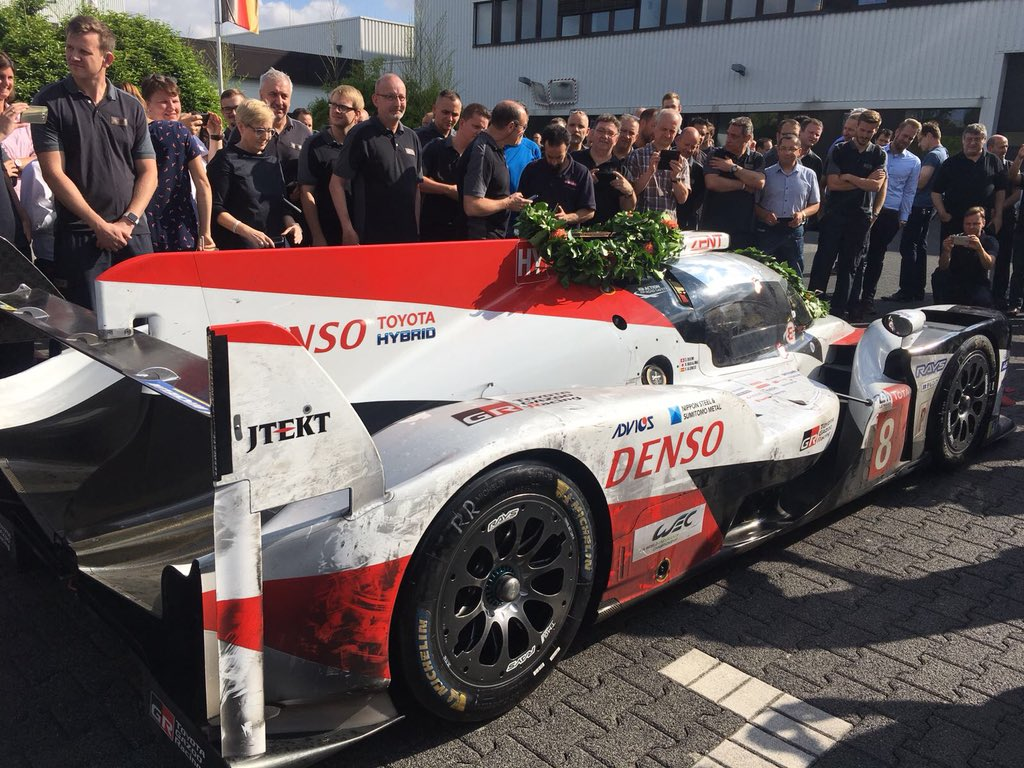 There she is! 😍 Our beauty just arrived back in Cologne... #TS050 #Toyota #LeMans24 #wedidit