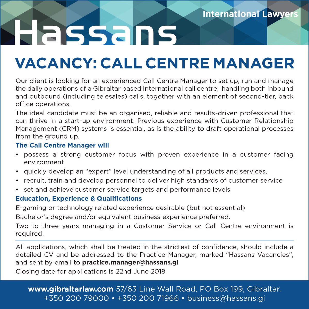 Hassans Law Firm On Twitter Vacancy Call Centre Manager