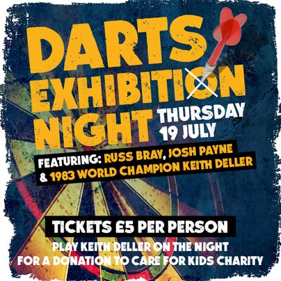 #DartsExhibition Night - Leicester feat. @Russ180 @Joshpayne180 & @KDeller138 Thu 19th Jul at 7:30pm @WalkaboutLeices in Leicester #DartsNight fatsoma.com/in-the-east-mi…