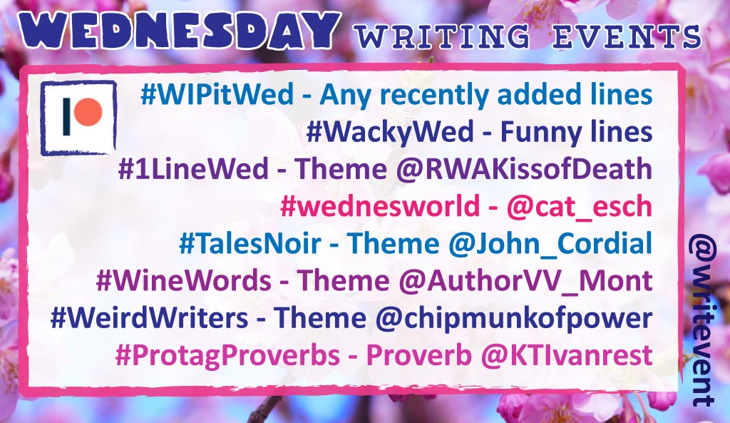 #wackywed TRIP  #talesnoir FREEDOM  #1linewed HIDE/SEEK  #winewords HEAL/AID  #WIPitWed RECENT LINES  #WIPWordSearch GRAVITATE  #ProtagProverbs IF YOU CAN&#39;T BEAT EM....  #weirdwriters YOUR BOOKSHELF [pics/describe]  #espressoyourself FAVE ICE CREAM FLAVOR<br>http://pic.twitter.com/g75SwGFIAW