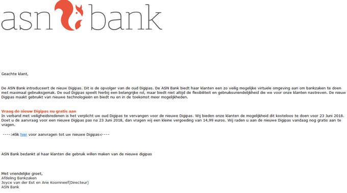 Phishing mail namens de ASN Bank. Niets aanklikken en bericht skippen!! https://t.co/DVa0CacHER